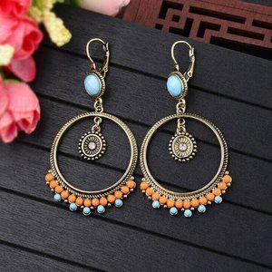 Boho Beaded Hoop Earrings